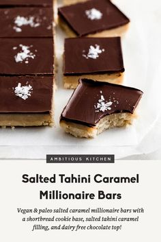Easy to make salted caramel millionaire bars with a shortbread cookie base, salted tahini caramel filling and topped with dairy free chocolate. Both vegan, gluten free and paleo! This recipe is in partnership with Enjoy Life. Vegan Sweets, Healthy Sweets, Healthy Baking, Gluten Free Baking, Gluten Free Desserts, Cupcakes, Paleo Dessert, Dessert Recipes, Millionaire Bars