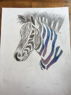 Dit is mijn tekening nu, ik ben met krijt het in gaan kleuren en daarna met een klein beetje water en een pencil erover gegaan. Het ging eigenlijk wel goed maar ik vond wel moeilijk  om wat te verzinnen.