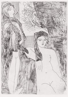 lilithsplace: 'Rembrandt and two women', 1934 (etching from Vollard Suite) - Pablo Picasso