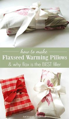 How to make warming flaxseed pillows and why whole flax seeds are the BEST filler for homemade warming pillows.