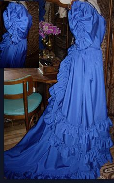 VTGE cobolt blue southern bell  wedding dress or by Themosaicdoor, $90.00