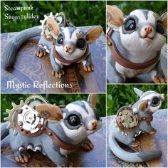 Handmade one of a kind polymerclay sculpture by Mystic Reflections Polymer Clay Figures, Fimo Clay, Polymer Clay Crafts, Polymer Clay Creations, Steam Punk, Polymer Clay Steampunk, Steampunk Diy, Steampunk Fashion, Sugar Glider Toys