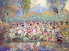 Lamanite Maidens being Kidnapped by King Noah's Wicked Priests - Minerva Teichert