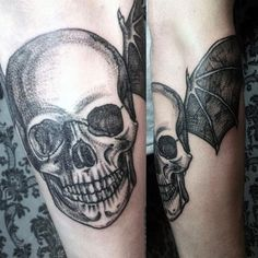 Soar high in the sky under the cover of darkness with these top bat tattoo designs for men. Discover masculine winged ink inspiration and ideas. New Tattoos, Tribal Tattoos, Tattoos For Women, Tattoos For Guys, Wing Tattoo Designs, Bat Wings, Tattos, Tattoo Ideas, Skull