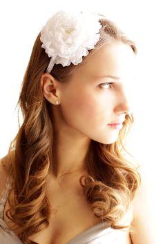 SALE White Bridal Hair Flower - Peony Flower on Headband - Flower with pearls - Wedding Hair Accessories