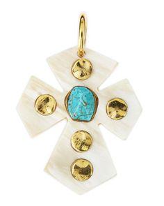 Mwamba Light Horn Cross Pendant with Turquoise  by Ashley Pittman at Neiman Marcus.