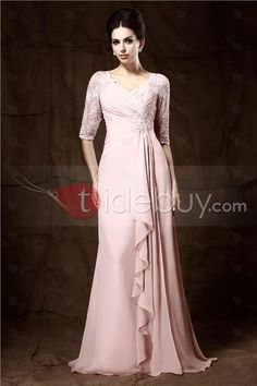 Romantic Lace Beaded Ruched A-Line V-Neck Half-Sleeves Floor-length Mother of the Bride Dress