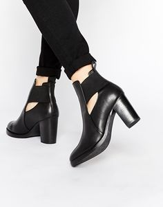 ASOS EXCEPTIONAL Cut Out Elastic Leather Ankle Boots