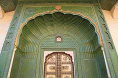 Green, Beautiful Door in Jaipur,India.