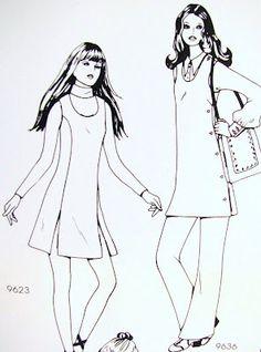 Early 1970's Fashion Illustrations: @Pintuckstyle.blogspot.com