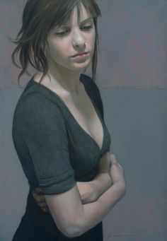 Artist: Aldo Bahamonde {contemporary figurative brunette female décolletage torso woman portrait painting}