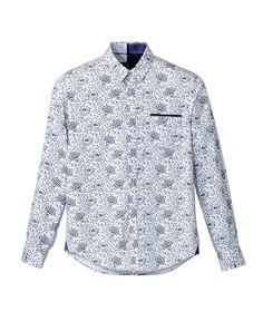 Chemise casual en coton blanc et fleurs bleu marine