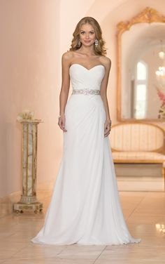 Chiffon sheath bridal gown from the Stella York wedding dress collection was imagined and handcrafted with stunning detail, featuring a hand-beaded Diamante embellished belt.