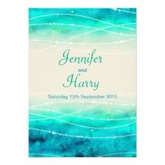 Beautiful blue green painted sea with graphic waves sparkle overlay wedding invitation. A beautiful beach, coastal ocean inspired, contemporary, wedding invitation featuring a unique stylized, hand watercolor sea, on a sand color paper. Perfect for a modern beach wedding. Edit this invitation with your own words. Unique designed and painted by Sarah Trett. www.sarahtrett.com You can find more wedding products here #wedding #invite #invitation #simple #modern #beach #wedding #sea #aqua #beach…