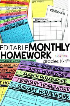 Sending Homework Calendars to Students - Tunstall's Teaching Tidbits