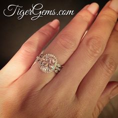 💖 The 3.25 carat oval halo ring with 2 Art Deco bands. 💖 Shop now at TigerGems.com. ✨