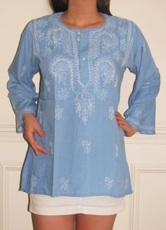 Soft Blue Cotton Long Sleeved Tunic from India with embroidery rocks my world totally. Wear it year round!