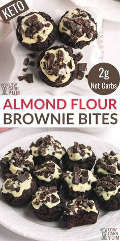 Almond Flour Brownies, Keto Brownies, Mini Brownies, Low Carb Sweets, Low Carb Desserts, Ketogenic Desserts, Brownie Recipes, Keto Recipes, Free Recipes