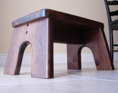 Wood Step Stool, Alder, Stained, Dark, Walnut, Kids Tip-Resistant, Stepstools by LaffyDaffy on Etsy