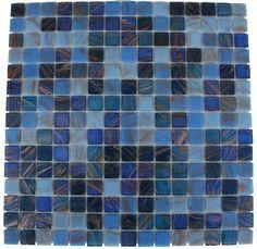 back splash - lake blue 3/4x3/4 glass tile - shop glass tiles at glasstilestore.com