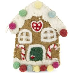 HANGING ORNAMENT Gingerbread house felt tree decoration 12cm ($14) ❤ liked on Polyvore featuring home, home decor, holiday decorations, handmade ornaments, felt xmas tree decorations, hand made ornaments, handmade felt ornaments and gingerbread house ornaments