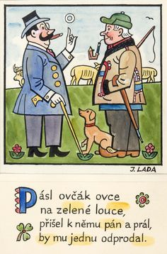 Kalamajka – Pásl ovčák ovce, 1913 Children's Book Illustration, Folklore, Childrens Books, Illustrators, The Past, Language, Comics, Retro, Artist