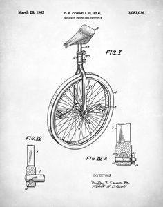 Patent Prints Unicycle Art Print Patent Unicycle Vintage Vintage Signs, Vintage Art, Nikola Tesla Patents, Steampunk Circus, Bicycle Decor, Bicycle Painting, Pig Art, Unicycle, Patent Drawing