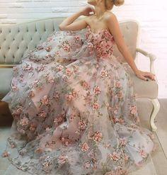 diaphanous 3D floral gown