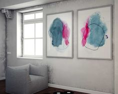 New to AdriLunaStudio on Etsy: Large Abstract Painting Art Print Set - Watercolor Giclee Prints - Set of Abstract Paintings - Large Art Print Set - Colorful Home Decor (14.99 USD)