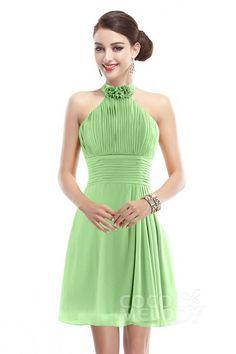 Fashion A-Line Halter Natural Short-Mini Chiffon Sleeveless Zipper Bridesmaid Dress COZK1401B