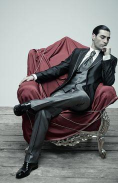 Per lui, total look Carlo Pignatelli Cerimonia. Ph. Luciano Pergreffi stylist Maria Giulia Pieroni. Vogue Sposa n. 124 Marzo 2013