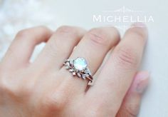 Vintage Moonstone Floral Engagement Ring in by MichelliaDesigns