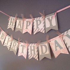 Silver and Pink Birthday Banner – Birthday Decoration – Adult Birthday Decorations – Pink Damask and Silver Birthday – Geburtstag Happy Birthday Dog, Pink Birthday, 1st Birthday Girls, Birthday Balloons, 90th Birthday Parties, Birthday Party Decorations, Pink Damask, White Damask, Festa Party