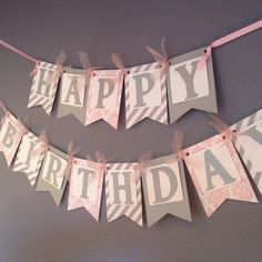 Silver and Pink Birthday Banner Birthday Decoration by wittypaper