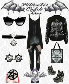 Dark Fashion, Gothic Fashion, Fashion Ideas, Fashion Inspiration, Badass Outfit, Alternative Outfits, Collages, Eye Makeup, Vanity