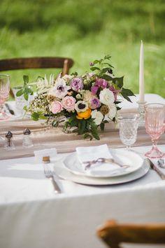 Organic Wedding Inspiration | Blush Wedding Inspiration | Vintage Glasses | Silk and Willow Runner | Garden Style Florals | @nikkimayday