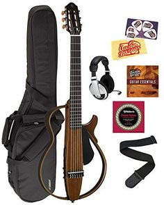 Yamaha SLG200N Nylon String Silent Guitar Bundle with Gig Bag, Headphones, Austin Bazaar Instructional DVD, Strings, Strap, Picks, and Polishing Cloth - Natural >>> Learn more by visiting the image link.
