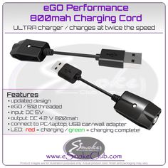 USB Ego Charger Cable Wall Charger for Ego Twist Batteries LOT US Seller