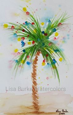 55 Ideas Palm Tree Painting Inspiration For 2019 Christmas Palm Tree, Tropical Christmas, Beach Christmas, Coastal Christmas, Christmas Art, Xmas, Watercolor Trees, Watercolor Cards, Watercolor Print