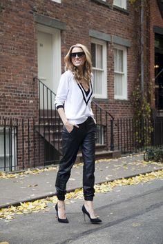 rag & bone leather pajama pant, camel coat, nasty gal sweater, black Sergio Rossi pumps