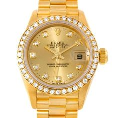 Rolex President Ladies 18k Yellow Gold Diamond Watch. Get the lowest price on Rolex President Ladies 18k Yellow Gold Diamond Watch and other fabulous designer clothing and accessories! Shop Tradesy now