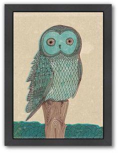 Americanflat Paula Mills ''Owl In Blue Monotone'' Framed Wall Art On Sale  #afflink