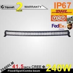 Tempered glasss 240W curved Led ramp Led light bar led driving light 12V 24V