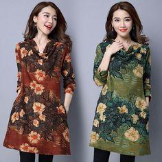 Winter Elegant Womens Long Sleeve Cotton Velve Casual Floral Loose Mini Dress