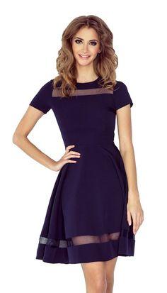 Morimia MM Midi dress with tulle stripes - navy blue Trendy Fashion, Fashion News, Womens Fashion, Fashion Glamour, Blue Dresses, Dresses For Work, Fashion Company, Asymmetrical Dress, Green Dress