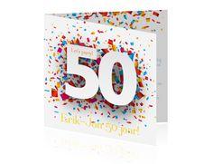 Confetti kaarten maken voor abraham 50 jaar. Een kaart met een vrolijke uitstraling.