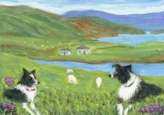 """Skye Watch"" with Border Collies watching sheep on the Isle of Skye, Scotland, from an original painting by North Carolina artist, Fran Brooks. This ACEO painting is very similar to the original larger painting that was donated to East Tennessee Border Collie Rescue auction fundraiser. www.artistnannie.com"