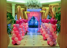 Balloon Columns entrance setup for the Barbie Party by @Fantasyparty