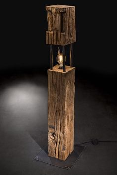 Suzi Wood Working ''The Big Cube'' lamp made from years old oak and raw steel in combination ., ''The Big Cube'' lamp made from years old oak and raw steel in combination . ''The Big Cube'' lamp made from years old oak and raw steel i. Industrial Light Fixtures, Industrial Lighting, Rustic Lighting, Lampe Edison, Wood Lamps, Industrial Furniture, Woodworking Plans, Woodworking Crafts, Cube