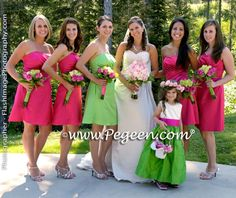Lime Green and Hot Pink Bridesmaids ♥ Lime Wedding, Lime Green Weddings, Pink Green Wedding, Hot Pink Weddings, Pink Wedding Theme, Wedding Colors, Gold Wedding, Dream Wedding, Fantasy Wedding